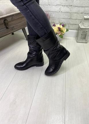 Сапоги, полусапожки, ботинки черные на низком ходу деми / зима натуральна кожа или замша