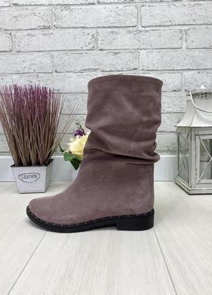 Сапоги, полусапожки, ботинки пудра на низком ходу деми / зима натуральна кожа или замша