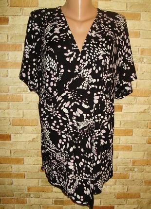 Трикотажная футболка блуза в принт 24/58-60 размера