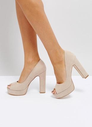 Туфли с открытым носком на платформе и каблуке асос asos truffle collection