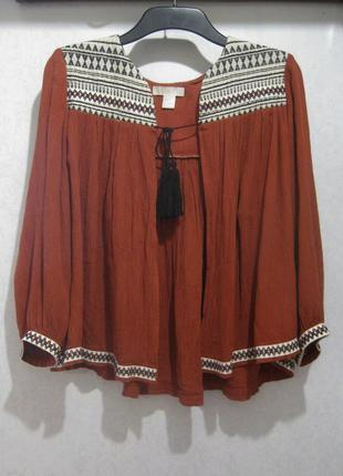 Пончо накидка блуза h&m коричневая тёмно оранжевая красная вышивка вышиванка