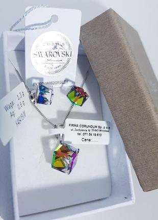Серебряный набор украшений swarovski серебряные сережки гвоздики кубики подарок девушке