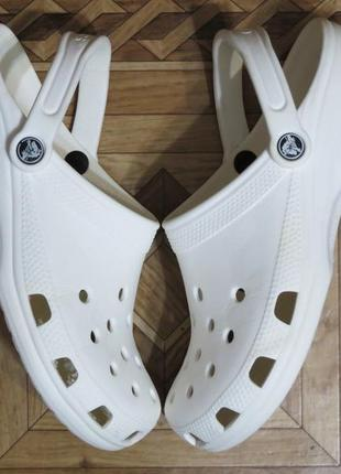 Белые сабо босоножки кроксы crocs crocband(оригинал)р.40-41