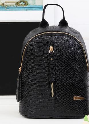 Рюкзак городской эко кожа экокожа черный змеиная фактура новый6 фото