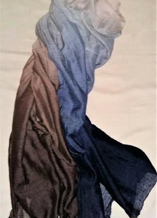 Шикарный палантин hermes cashmere silk multicolor plume sunrise scarf  оригинал