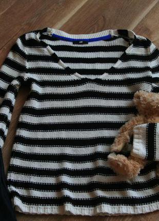 Актуальный свитер свитшот в полоску
