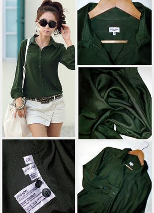 🔴🔴фирменная базовая шелковая рубашка/глубокий зеленый цвет/100% шелк🔴🔴