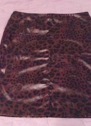 Юбка лаковая тигровая
