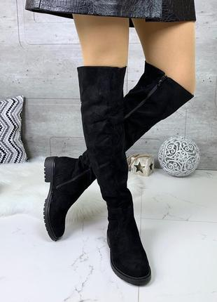 Замшевые сапоги ботфорты на низком каблуке,демисезонные чёрные высокие ботфорты