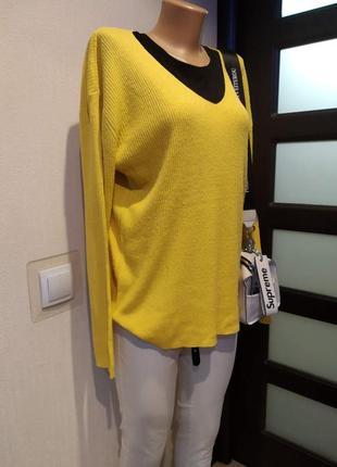 100%шелк.стильный желтый джемпер кофточка пуловер