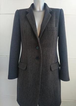 Стильное пальто в мужском стиле zara серого цвета в ёлочку
