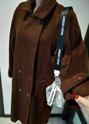 Натуральная шерсть.стильное брэндовое пальто оверсайз шоколадного цвета