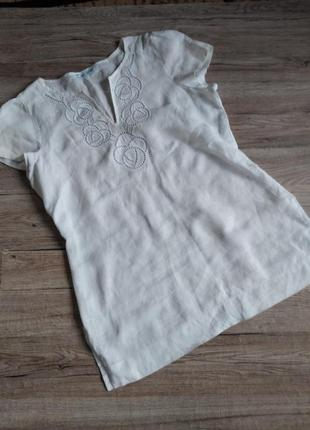 Marks spenser блуза бузка без рукавов  летняя лен лён,12 р.блуза літня льон