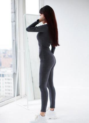 Костюм женский комбинезон замшевый серый графит koikawa