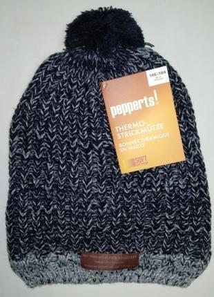 Теплая шапка на флисе для девочки pepperts