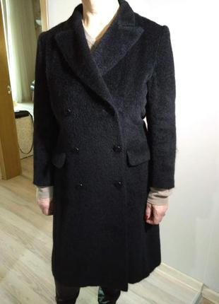 Пальто max mara из альпаки и шерсти черного цвета в шикарном состоянии