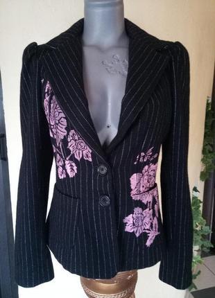 Эксклюзивный шерстяной трендовый жакет в полоску,пиджак,набивной рисунок