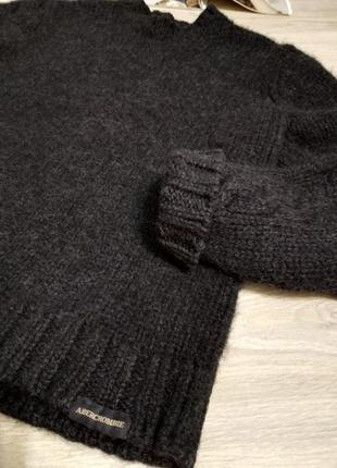 Теплющий натуральный джемпер свитер серого цвета