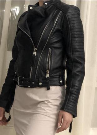 Куртка zara женская, натуральная кожа