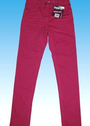 Брюки, на девочку, подростковые, малиновые, джинсы, рост 146