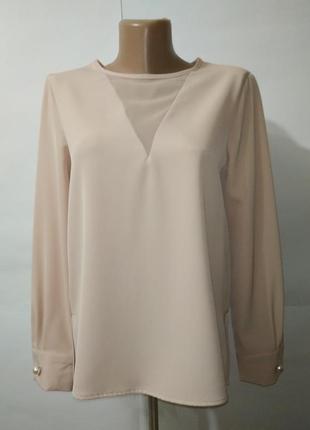 Блуза кремовая шикарная с жемчужными пуговицами zara uk 8/36/xs