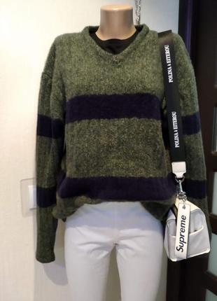 Натуральная шерсть.теплющий стильный брэндовый свитер джемпер пуловер оверсайз