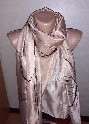 Нежный большой невесомый шелковый шарф палантин шаль jigsaw 100% шелк