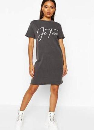 Boohoo, платье футболка с надписью. оверсайз 44-48 новое.