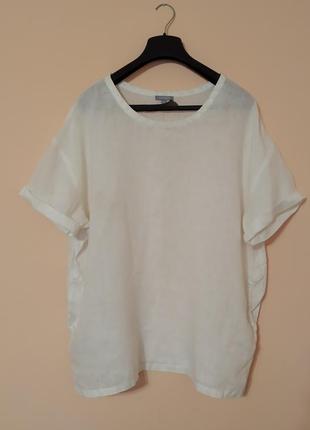 Льняная белоснежная блуза блузон с карманами maddison. свободный крой