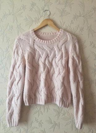 Укороченный свитер ручной вязки
