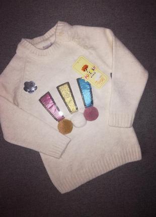 Отличный вязаный свитер для девочки 92-98рр