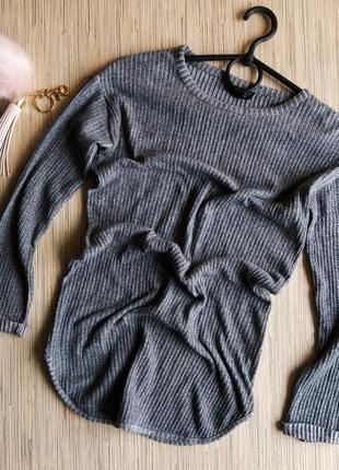 Шикарный удлиненный легкий меланжевый свитерок в рубчик