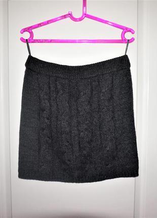 Теплая вязаная юбка на резике