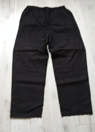Темно-синие льняные брюки на резинке италия