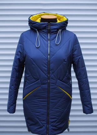 Удлененная женская куртка на весну (ветровка) больших размеров.