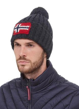 Оригинальная шапка napapijri semiury 2 dark grey