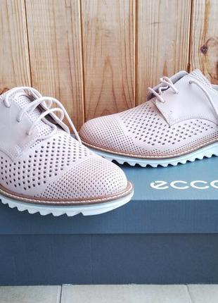 Стильные полностью кожаные новые броги туфли полуботинки ecco мокасины оригинал в коробке