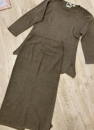 Теплый трикотажный костюм юбка миди и кофта удлиненная размер м/л