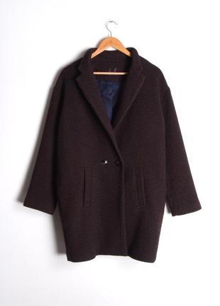Красивое пальто оверсайз кокон коричневое фиолетовое promod