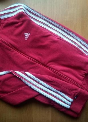 Теплая,флисовая кофта на замочке фирмы adidas s - m размера