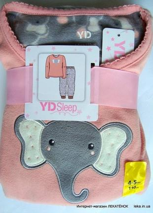 Флисовая пижама девочке слоник primark