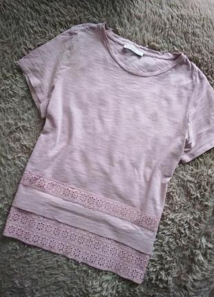 Красивая,розовая футболка с прошвой  по низу от george.