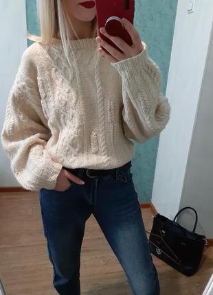 Теплющий шерстяной 100% объёмный свитер оверсайз