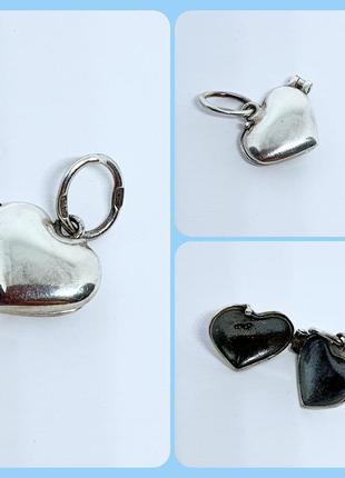 Серебряная подвеска,кулон открывающийся в виде сердца