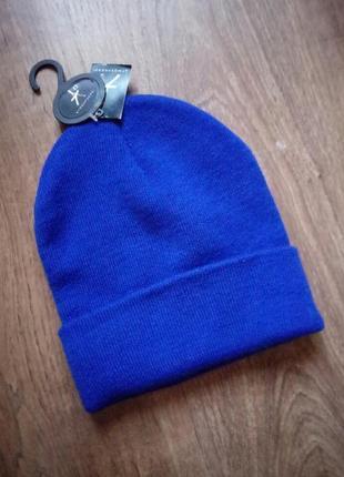 💙цвет 2020💙новая, яркая теплая шапка насыщенный синий цвет двойная