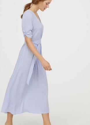 Милое летнее платье миди h&m в горошек