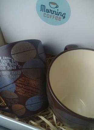 Набор 2 керамических чашки кружки кофеман 450 мл для кофе чая новые