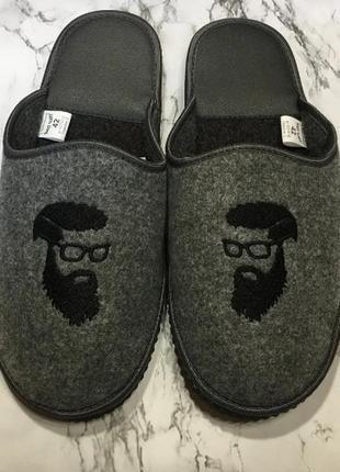 Мужские тапочки бородач серые