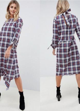 Стильное ассиметричное платье миди в клеточку с длинным рукавом asos, платье трапеция