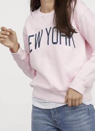 Нежно-розовый свитшот на флисе от h&m m-ка